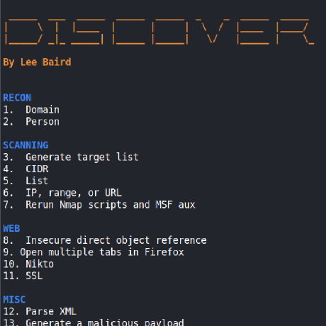leebaird/discover For use with Kali Linux  Custom bash scripts