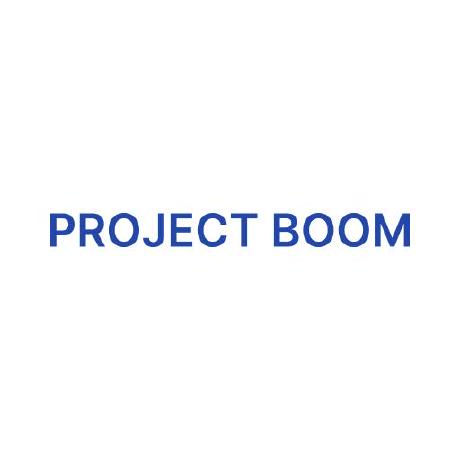 Project Boom's logo within a circle next to the text with the name of Project Boom
