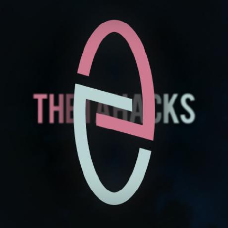 ThetaHacks's logo within a circle next to the text with the name of ThetaHacks